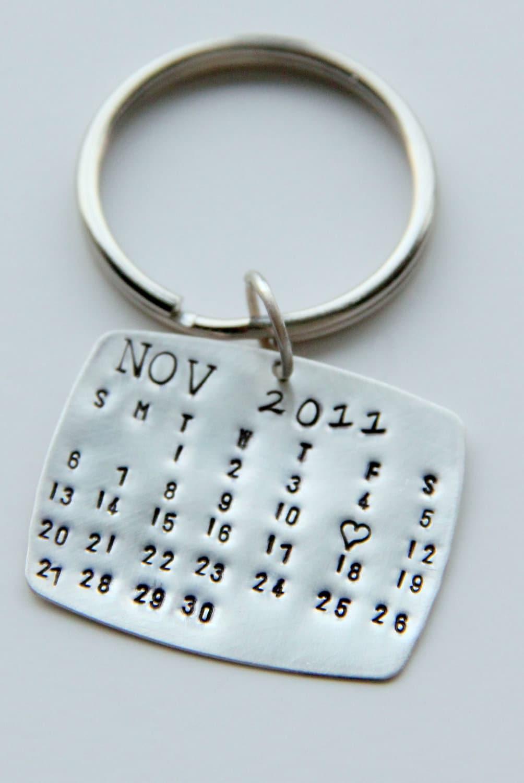 Sale sterling calendar keychain gift for him calendar key for Wedding gift for him