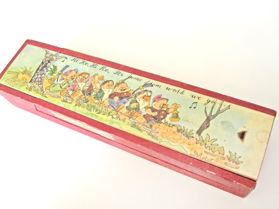 Vintage Snow White pencil box, red wooden puzzle box, Walt Disney, Seven Dwarves, Dwarfs, back to school, school supplies