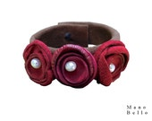 Bohemian Bracelet - Leather Flower Cuff - Red Leather Flowers - Fresh Water Pearls - Leather flower bracelet - red and brown - in stock