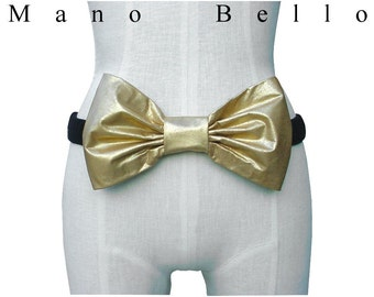 SALE Gold Leather Bow Elastic Belt Black Velvet Upcycled Refashioned small - medium, in stock
