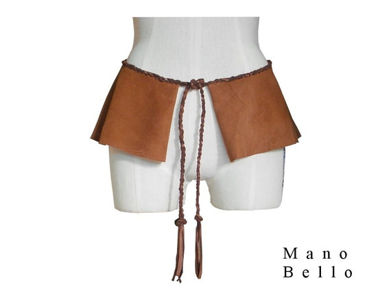 mocha suede peplum belt with braided leather rope by manobello