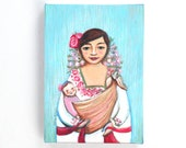 Folk art painting Matryoshka illustration - mexican mother with a baby.  canvas print 5 7 inch / folk art