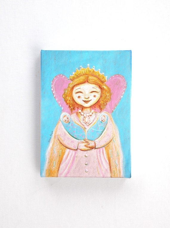Baby twins painting - Happy princess in pink and blue. canvas print 5 7 inch / folk art