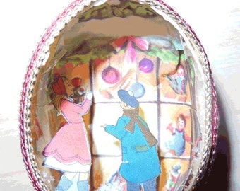 Vintage Handmade Eggshell Christmas Ornament Scene - Looking in the Window
