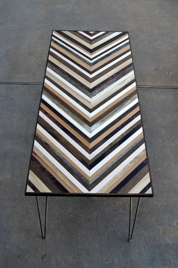 Chevron Desk With Hairpin Legs Wood Table Reclaimed Wood