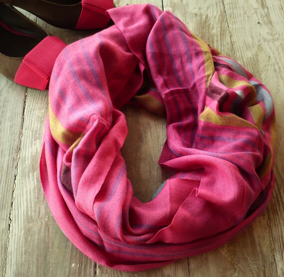 lnfinity  scarf hot pink striped..loop  Scarve ,stripes , soft...Accessories ..Eternity...Ideal complement ...RF