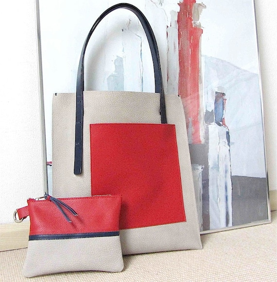 RESERVED for tandyandlacy Tote  bag and pouch Mondriaan nr.2  in full grain pebbled leather in light grey with red and blue leather accents