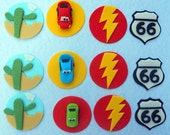 36 CARS Edible Cupcake Toppers