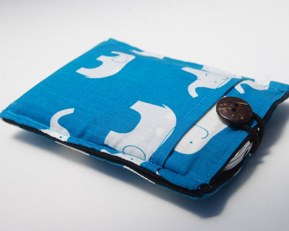 iPhone - iTouch - Smartphone - Gadget Case - Elephant Print - Organic Cotton - Eco Friendly - Ready to Ship