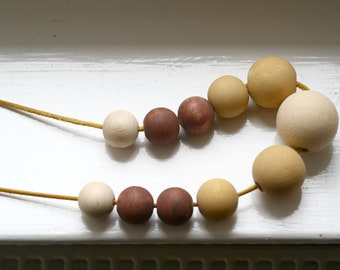 Cafe in September Statement Necklace / Handpainted Wooden Beads and Leather / Ombre Fall Colors / Geometric