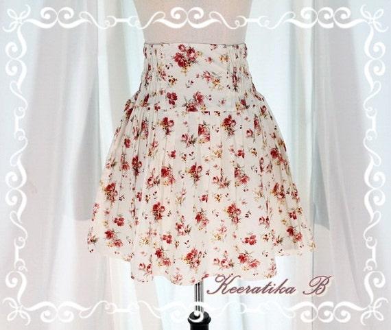 Pretty Season - Mini Skirt Soft Cream With Sweet Floral Print Adorable Skirt