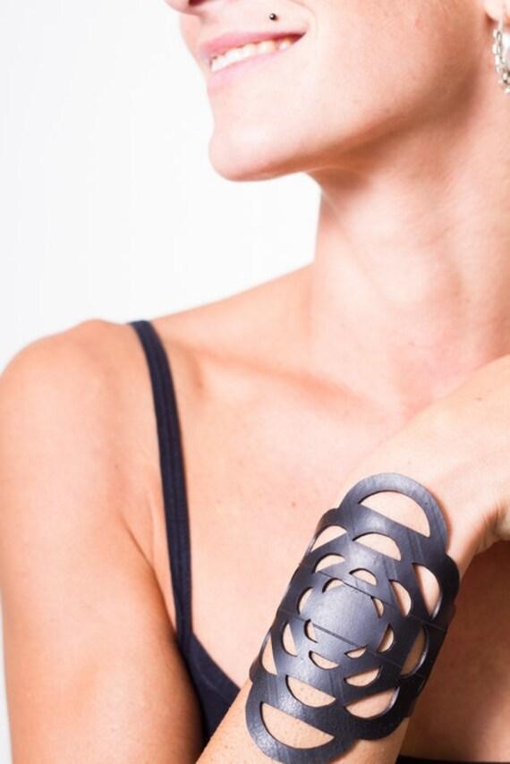 Mandala - Recycled Inner Tube Bracelet (Handcutted)