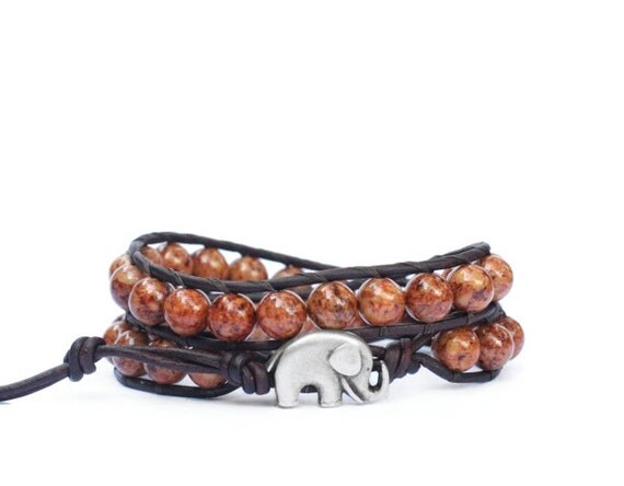 the lucky elephant Leather Wrap Bracelet - Milk Chocolate Brown with GOOD LUCK ELEPHANT