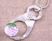 Dichroic Glass & PMC Pendant - Fused Glass on Geometric Textured Precious Metal Fine Silver - Opal Pink Translucent