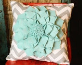 16x16 inch Pillow- Large Turquoise Felt Dahlia on Grey Chevron Throw Pillow- Decorative Pillow