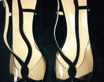Vintage 1960s Black Suede and Plastic Slingback Heels