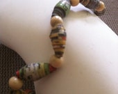 Paper Bead Bracelet made of Newspaper and Cream Colored Wooden Beads Upcycled