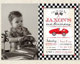 Race Car Birthday Invitations - Race Car Invitations - Racer - Vintage Race Car Invitations - DIY printables