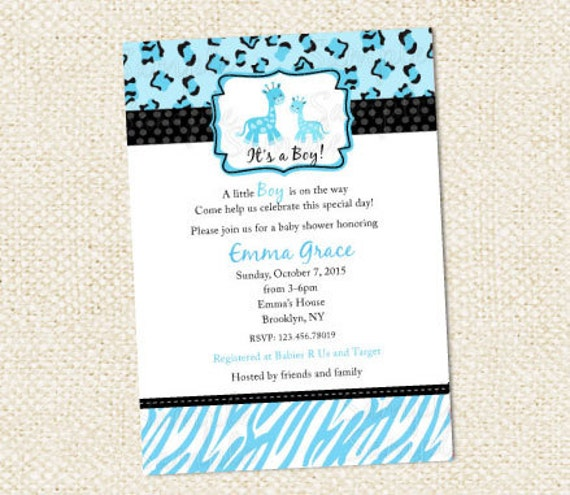 blue safari baby shower invitations by lollipopprints on etsy