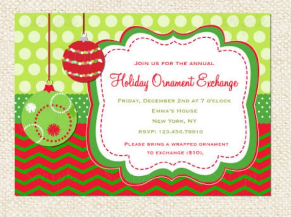 Holiday Ornament Exchange Invitation Modern Holiday Swap