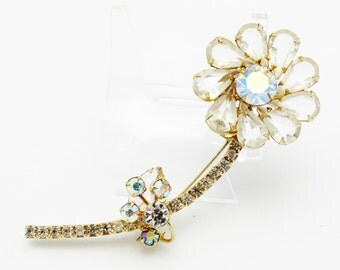 Juliana Clear Crystal Flower Brooch
