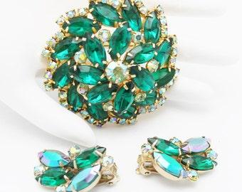 Garne Signed Vintage Emerald Green Brooch and Earring Set