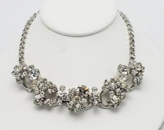 Vintage Juliana Necklace Clear Rhinestone Five Links