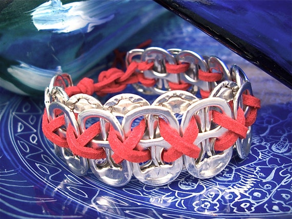 Metal POP TAB WRISTBAND - red leather - masculine/unisex - recycled/upcycled/eco-friendly -  gifts under 15.00