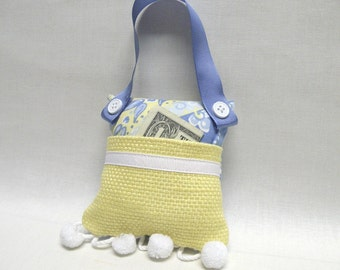 Tooth Fairy Pillow or Gift for Girls Purse Toy in Blue and Yellow
