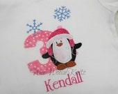 Penguin Wonderland Birthday Shirt  Bib Personalized Winter Boys Girls First Birthday Any Number  Applique