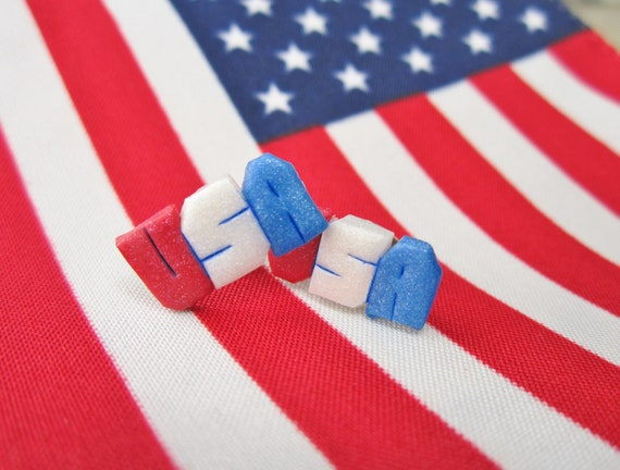 Red White And Blue Team USA Earrings