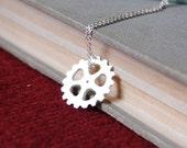 Silver Gear Necklace