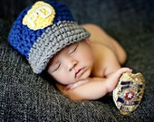 Police Hat  in Blue, Gray, Yellow and White Available in Newborn to Child Size- MADE TO ORDER