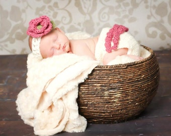 The Ava Flower Headband in Dark Rose, Ecru and Olive Green with Matching Diaper Cover Available in Newborn to 24 Months- MADE TO ORDER