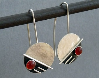 Sterling silver earrings with carnelian - Gemstone earrings - Silver jewelry - Handcrafted