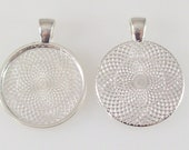 """500 Round Pendant Tray 1"""" Inch Silver Plated Blank Bezel for Cabochons Necklaces 25mm"""