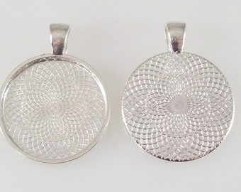 "500 Round Pendant Tray 1"" Inch Silver Plated Blank Bezel for Cabochons Necklaces 25mm"