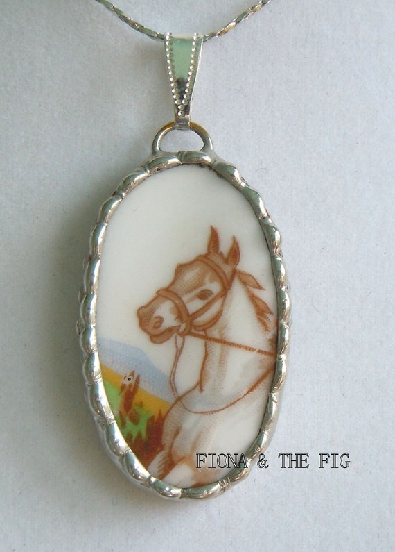 Fiona And The Fig Vintage Broken China HORSE Necklace Pendant