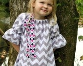 NEW 2012...Grey Chevron Tunic Dress with Bow.... 3/4 sleeves.. Sz 6m-6y.. baby, girl, toddler