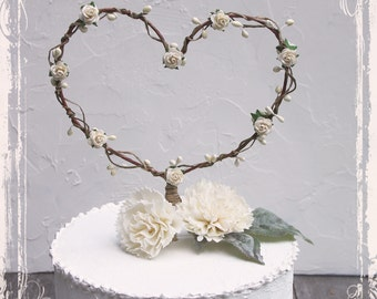 Heart Shaped Cake Topper - Add To A Centerpiece Or Use As A Photo Prop - Wedding Decor - Custom Color - Fall Winter Weddings