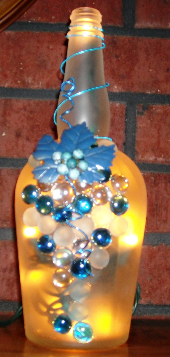 Frosted and blue glass wine liquor bottle light with by for Glass bottle gift ideas