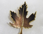Pre-Holiday Sale Vintage Autumn Leaf Pin, Golden Brown Maple Leaf