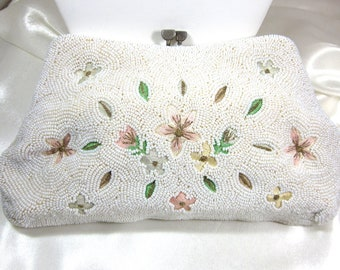 REDUCED SAX FIFTH Ave, David's Fifth Avenue, White Beaded Bag,Clutch, Purse, Wedding, Silk Embroidery