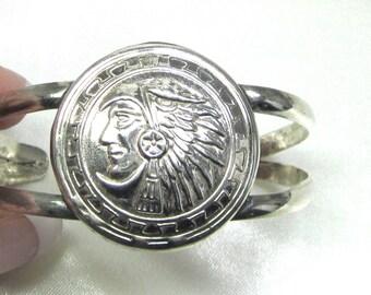 Indian Head Cuff Bracelet, Pressed Silver Tone Metal Cuff Tribal