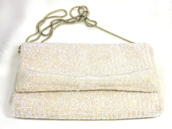 Vintage White Iridescent  La Regale Hand Beaded Clutch, Wedding Purse, High End, Wedding Clutch