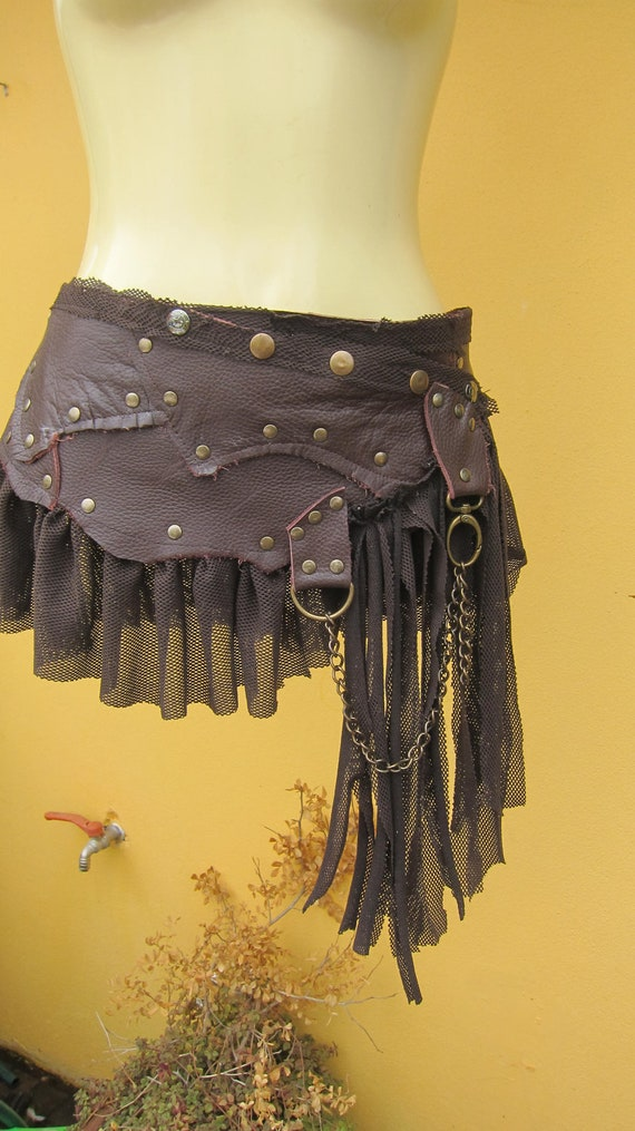 vintage inspired bohemian chocolate leather mini skirt belt/tutu with stud detail....