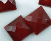 2 pcs Agate 14 x 14 mm square faceted cabochons  140CB