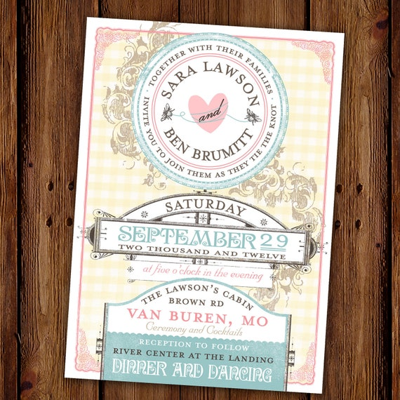 Vintage Wedding Invitation - Country Chic Wedding - Couples Shower - Engagement Party - Bridal Shower - Sweetly Vintage