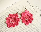 lace earrings -ROSALYN- fuchsia pink