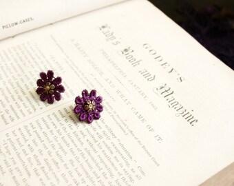 lace earrings -SHELLY- purple